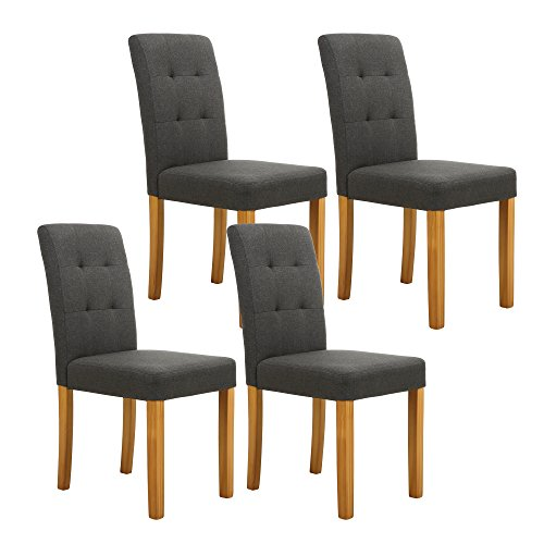 Parson Chair Classic Upholstered (LSSPAID Classic Fabric Parson Dining Chairs with Solid Wood Legs,Set of 4(Charcoal))