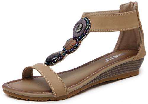 Toe Chaussures Sandales Haute Compensé Clip Flops Talon Newcolor Flip Bohémien Femmes Perle Roma YnAwqxWapC