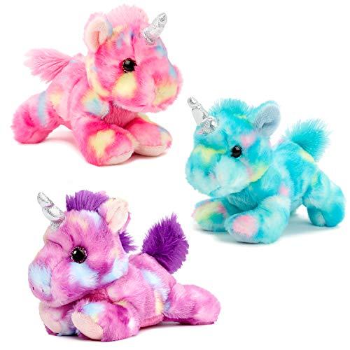 Aurora Unicorn Bundle of 3 Unicorns, Blueberry, Jellyroll and Mulberry Drop Plush Stuffed Animals (Aurora Stuffed Animals Unicorn)