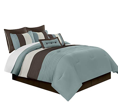 Chezmoi Collection 8-Piece Luxury Stripe Comforter Bed-in-a-Bag Set, Full Size, Beige, Blue and Brown
