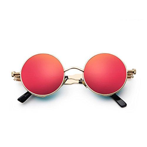 de sol de Gafas Rojo sol Gafas metal círculo de Dorado de retro Marco color moda de Aiweijia Lente de xO4n5qwPgx