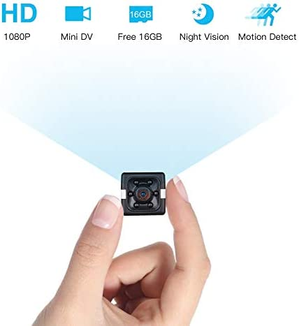 Mini Spy Camera Wireless Hidden, 1080P Mini Hidden Camera with 16G SD Card, Nanny Cam Night Vision with Motion Detection