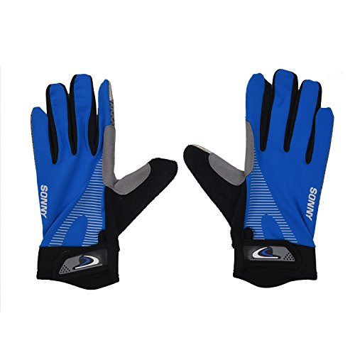 SODIAL(R) 1 pair Cycling Motorcycle Gloves Ice Lycra High Elastic Breathable Silicone Non-Slip, Full Finger Outdoor Sports Gloves, Blue S