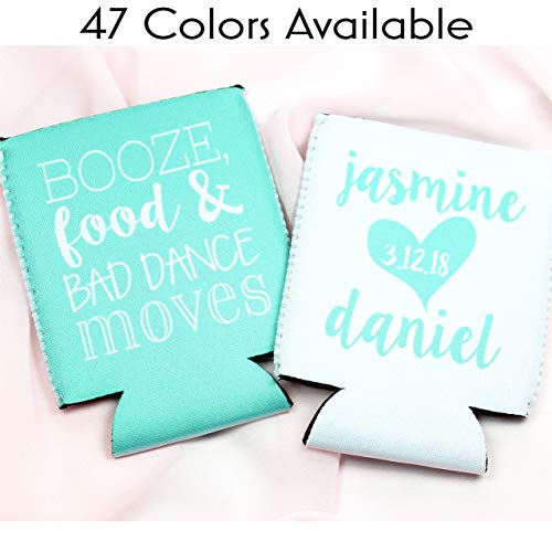 Personalized Wedding Can Coolers Booze Food and Dance Moves Multiple Colors/Quantities Available Personalized Wedding Favors Neoprene Can Coolers ()