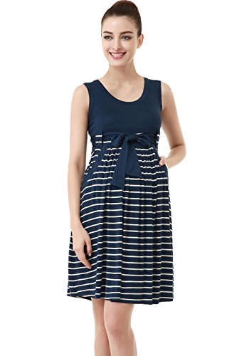 Momo Maternity Scoop Striped Dress product image