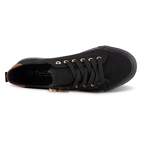 Canvas Sneakers Women's Twisted KIX Decorative Zippers Black with HOBxznvS