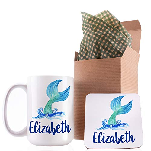Dabbing Unicorn Mermaid Personalized Coffee Mugs with Name - 11oz & 15oz Large Cup with Matching Coaster - Birthday Gifts, Mothers Day Gifts, Christmas Gifts, Gift for Granddaughter Daughter]()