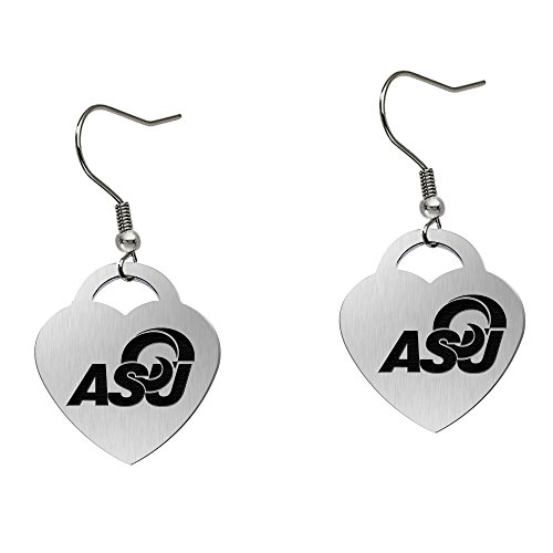 Angelo State University Rams Satin Finish Large Stainless Steel Heart Charm Earrings - See Model for Size Reference by College Jewelry