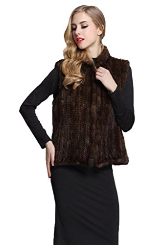 Women's Brown Knitted Real Mink Fur Vest Waistcoat with Stand Collar - Kodak Bearing