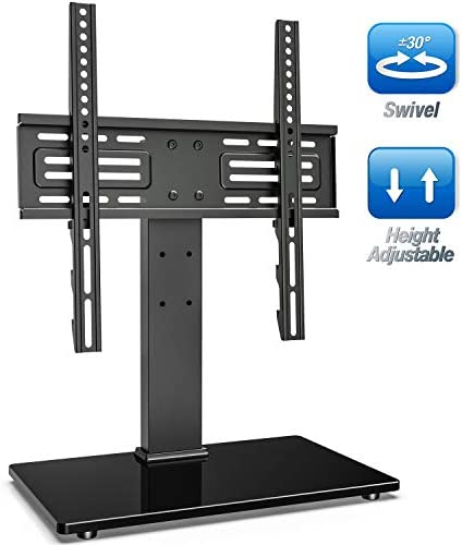 FITUEYES Universal Swivel TV Stand for 27-55 inch LCD LED TVs Height Adjustable TV Base with Tempered Glass VESA 400x400mm TT103702GB