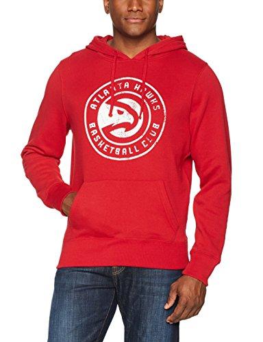 fan products of NBA Atlanta Hawks Men's OTS Fleece Hoodie Distressed, Red, Large
