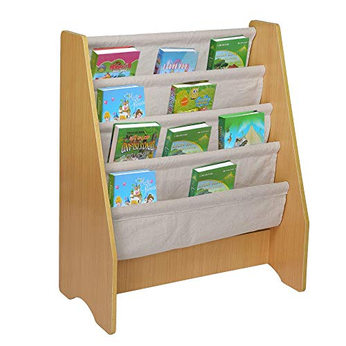 Transser Kids Book Rack Storage Bookshelf, Children's Wooden 4 Layer Fabric Sling Bookcase Toy Picture Rack, Bookshelf Organizing Storage Shelving for Bedroom Living Room, Shipping from US (Yellow)
