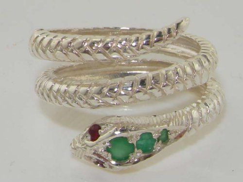 925 Sterling Silver Natural Emerald and Ruby Womens Band Ring - Sizes 4 to 12 Available