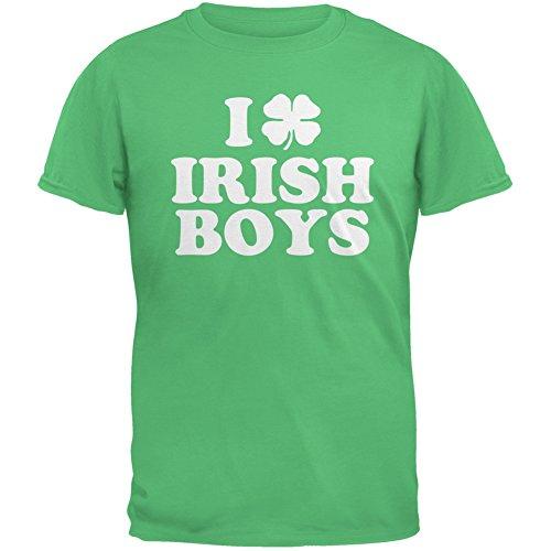 I Shamrock Love Irish Boys Green Adult T-Shirt - Medium (Love Green Boys Irish)