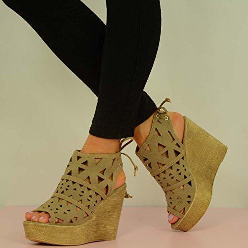 mujer de Fashion Marrón tacón Zapatos gris Cucu OgHxqFw