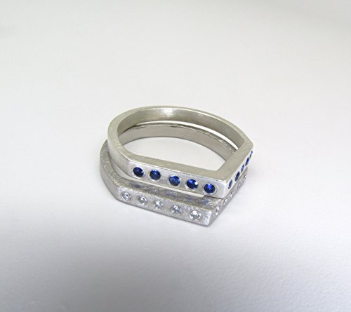 Contemporary Gold Or Sterling Silver Roof Top Rings With Blue Sapphires Or White Diamonds - Size 5.5 ()