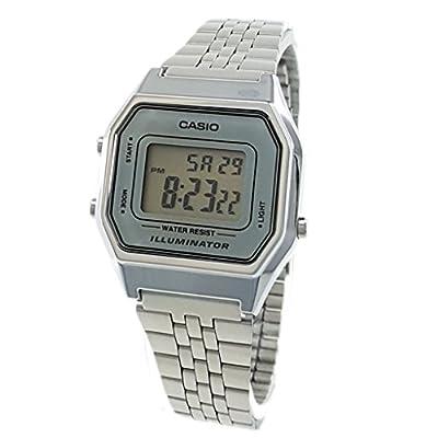 Casio Ladies Mid-Size Silver Tone Digital Retro Watch LA-680WA-7DF