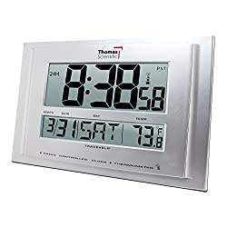 Thomas 1076 Traceable Digital Radio Atomic Wall Clock with 2-1/4 High Big Digit, 32/122 degree F, 11 Width x 7-1/4 Height x 3/4 Depth
