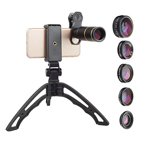 Apexel 6 in 1 Phone Camera Lens kit-16X Zoom Universal Telephoto Lens+198°Fisheye+0.63X Wide&15X Macro+CPL&Star Filter with Tripod/Lens Clip/Zipper Case Compatible iPhone/Samsung/Android Phones