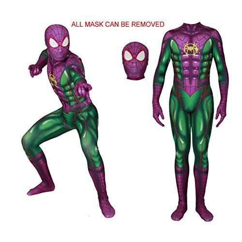 MYanimec Unisex Lycra Spandex Halloween New into The Spider Verse Miles Morales Cosplay Costumes Adult/Kids 3D Style Adult-L Green