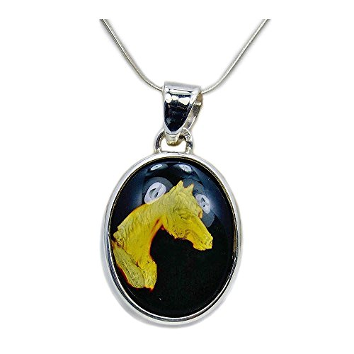 'Wild Horse' Sterling Silver Natural Cherry Baltic Amber Horse Cameo Pendant Necklace