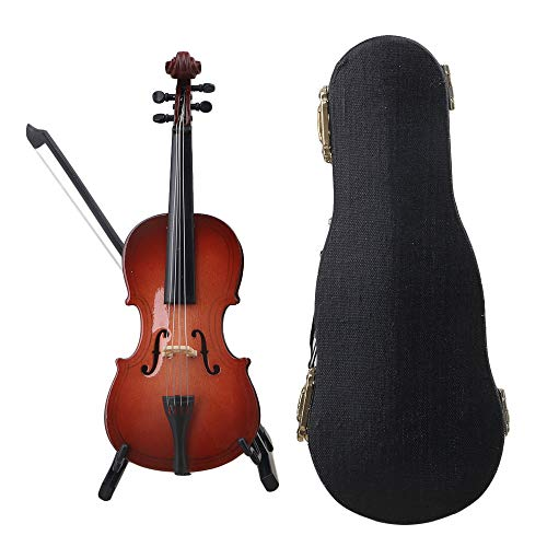 Yibuy 15x5.3x1.5cm Red Resin Mini Instrument Folk Cello Model Ornaments Home Decoration Acoustic Cello for Desk ()