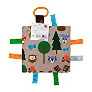 Baby Sensory Crinkle & Teething Square Lovey Toy with Closed Ribbon Tags for Increased Stimulation: 8 X8  (Forest Animals)