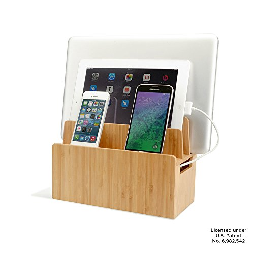 Bamboo Universal Multi Device Cord Organizer Stand and Charging Station for Smartphones, Tablets, and Laptops by MobileVision