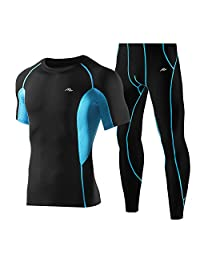 Men's Compression Fitness Sets Quick Dry Short Sleeve Pants Tight Baselayer 2 Pieces