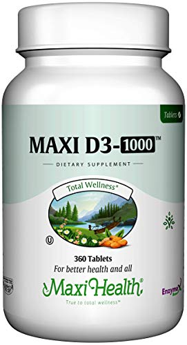 Maxi Health D3 1000 Tablets - Natural Vitamin D3 - Nutrition Supplement - 360 Tablets - Kosher