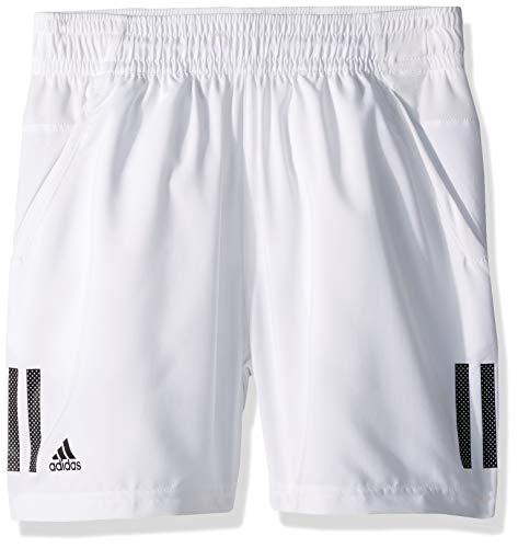 (adidas Youth 3-Stripes Tennis Short, White/Black, X-Small)