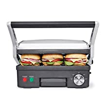 BELLA 4-in-1 Contact Grill Griddle and Panini Maker Combo, Stainless Steel and Black 14464