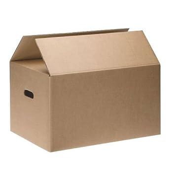CAJAS DE CARTÓN CON ASAS (pack 10 uds) Muy resistentes 50X40X30 (Aptas para reutilizar): Amazon.es: Oficina y papelería