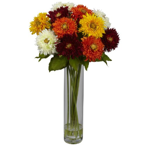 Nearly Natural 1246-AS Sunflower with Cylinder Silk Flower Arrangement, Assorted