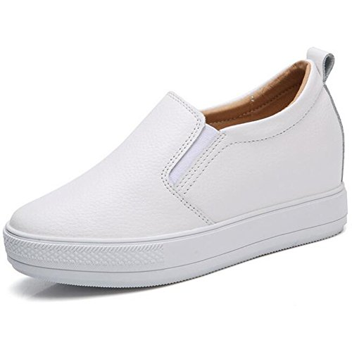 Women's Slip On Loafers Platform Hidden Heel Wedge Sneakers White Black Flat Shoes Fashion Walking Sneakers (8 B(M) US, White)