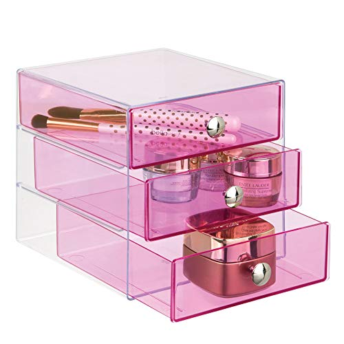 InterDesign Plastic 3 Jewelry Box, Compact Storage Organization Drawers Set for Cosmetics, Dental Supplies, Hair Care, Bathroom, Office, Dorm, Desk, Countertop, 6.5