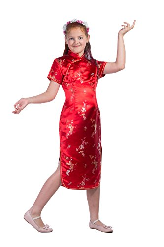 Girls Red Chinese Dress Cherry Blossom (Age 8)