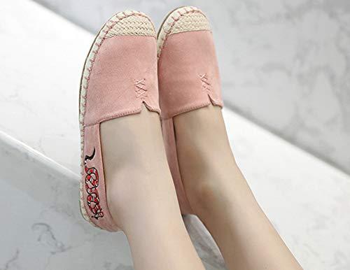 Plat Talon Confortable Espadrilles Aisun Femme Coutures Motifs Rose qw6PxEtz