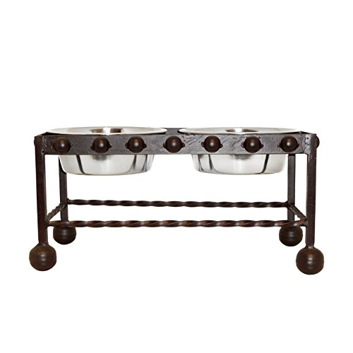 Large Rustic Wrought Iron Mission Double Dog Feeder