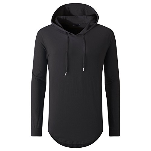 Sleeve Mens Long Pullover - UNRESTRAINED Mens Hip Hop Longline Pullover Long Sleeve Hoodie Shirt Black M