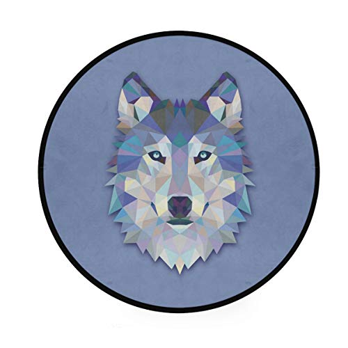Round Area Rug Geometric Wolf Art Deco Non-Slip Backing Playing Floor Mat for Living Room Bedroom, 3 Feet Diameter