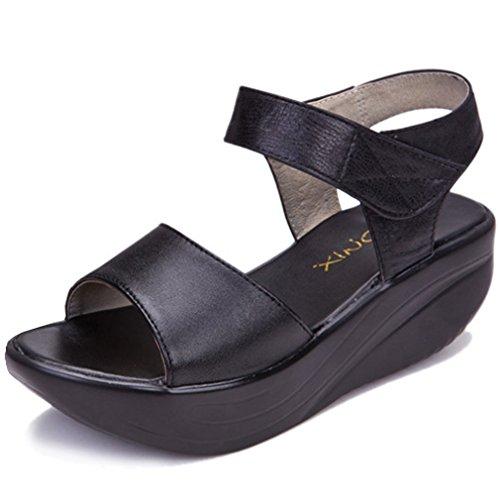 3fc9a3ed88 Orlancy Women's Genuine Leather Platform Wedge Ankle Strap Buckle Slip On Summer  Sandal Middle-Heeled
