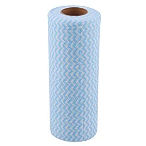 uxcell Non-Woven Fabric Kitchen Wave Print Disposable Cleaning Cloth Roll Towel Blue