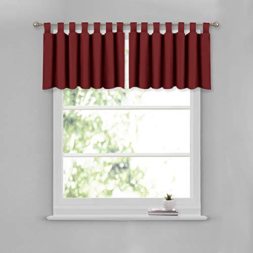 (NICETOWN Short Window Treatment Curtain Valance - Elegant 52-inch by 18-inch Blackout Tiers for Living Room & Dining Room (Burgundy, 2 Panels Per Pack))