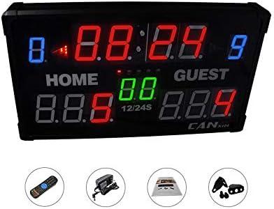 NEWTRY 得点板 スコアボード スポーツタイマー LEDタイマー 大型 14桁 バスケ/サッカー/卓球/バドミントン/柔道/競技/試合など用 24秒カウントダウン機能  得点板+三脚