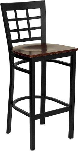 Taburete HERCULES Black Window Back Metal Restaurant Bar Stool Mahogany Wood Seat