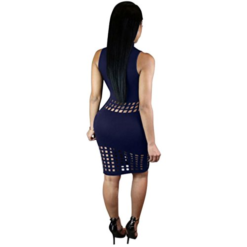 Creazydog Creazy Femmes Sexy Bandage Haut Cou Partie Moulante Évider Bleu Robe Courte