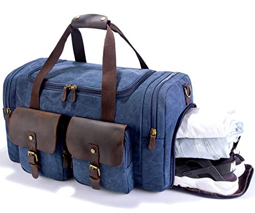 (SUVOM Canvas Duffle Bag Leather Weekend Bag Carry On Travel Bag Luggage Oversized Holdalls for Men and Women(Blue))