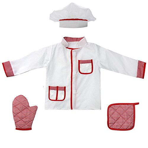 - 4Pcs Kids Chef Role Play Costume Set fedio Chef Dress up Set for Children(Ages 2-4) (Red gingham)