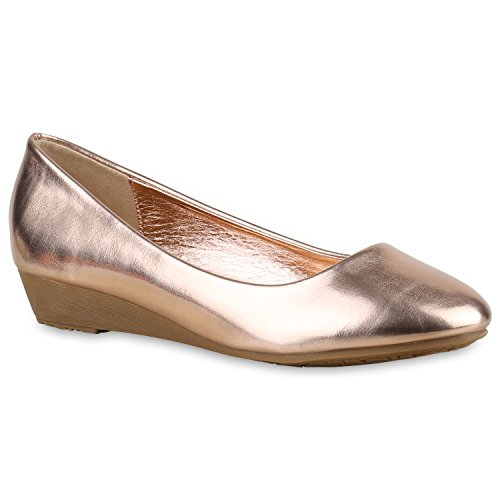 Stiefelparadies Damen Keilpumps Strass Klassische Pumps Spitze Keilabsatz Schuhe Nieten Bequeme High Heels Leder-Optik Wedges Zipper Flandell Rose Gold